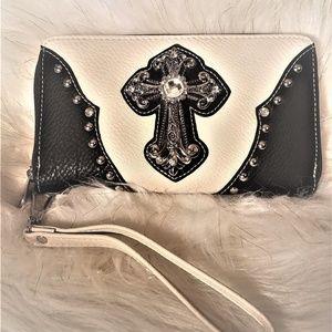 NWT Vegan Leather Cross with Gemstones Wristlet